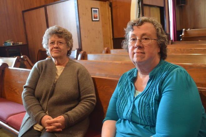 Joan Jahns, left, is a third generation member of Vickery United Methodist Church. Pastor Pat Schneider, right, is current pastor of the church, whose history goes back 130 years.