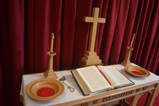 The church's history is embedded in many ceremonial objects, like those shown here, which were purchased in honor or memory of former members.