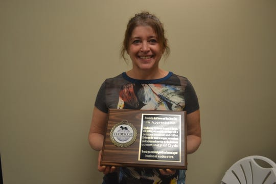 Beth Powers was awarded this plaque of appreciation for her dedication and service to the Clyde community.