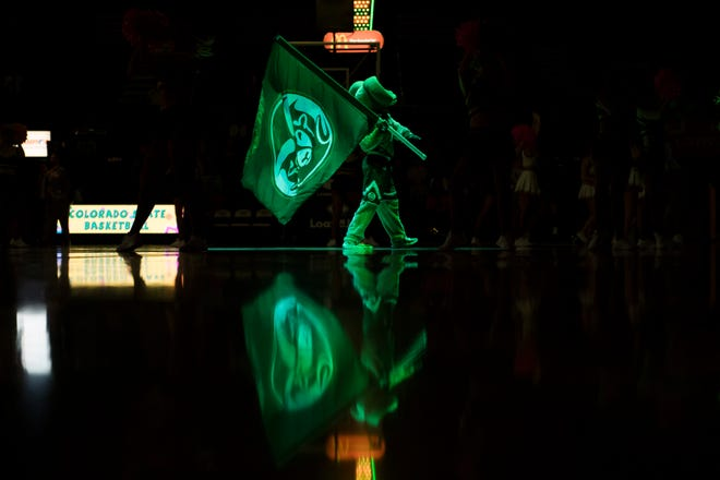 Colorado State University mascot Cam the Ram performs before a game against San Diego State University on Tuesday, Feb. 12, 2019, at Moby Arena in Fort Collins, Colo.
