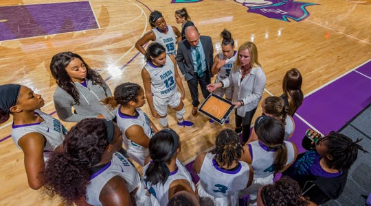 FSW women's basketball head coach Kristie Ward and the Buccaneers' season ended with a three-point loss to the No. 1 seed in the NJCAA tournament Tuesday.