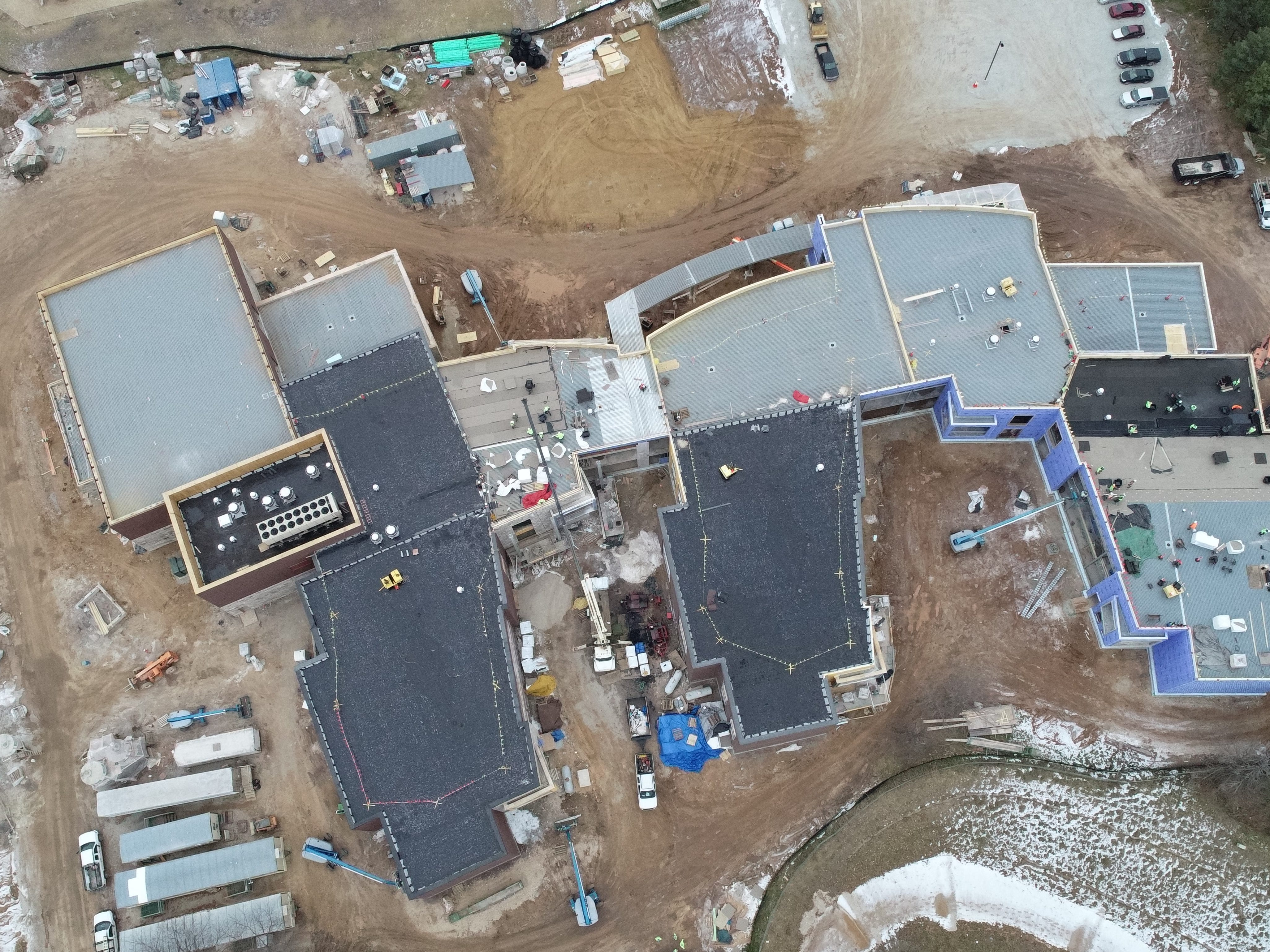 An aerial view of the under-construction Baird Elementary School.
