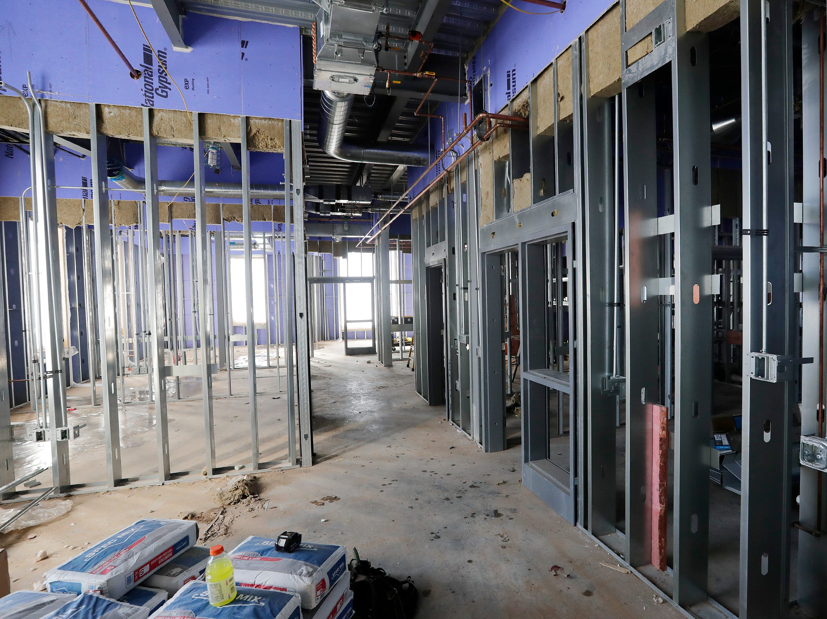 The under-construction main office area at Baird Elementary School is shown on Wednesday, February 13, 2019 in Green Bay, Wis.