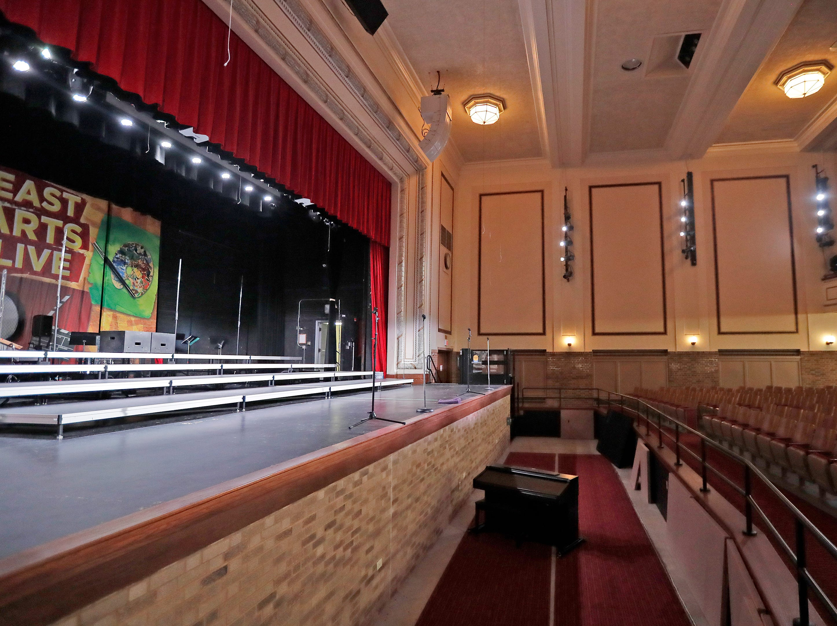 The remodeled auditorium with new orchestra pit at East High School is shown on Wednesday, February 13, 2019 in Green Bay, Wis.