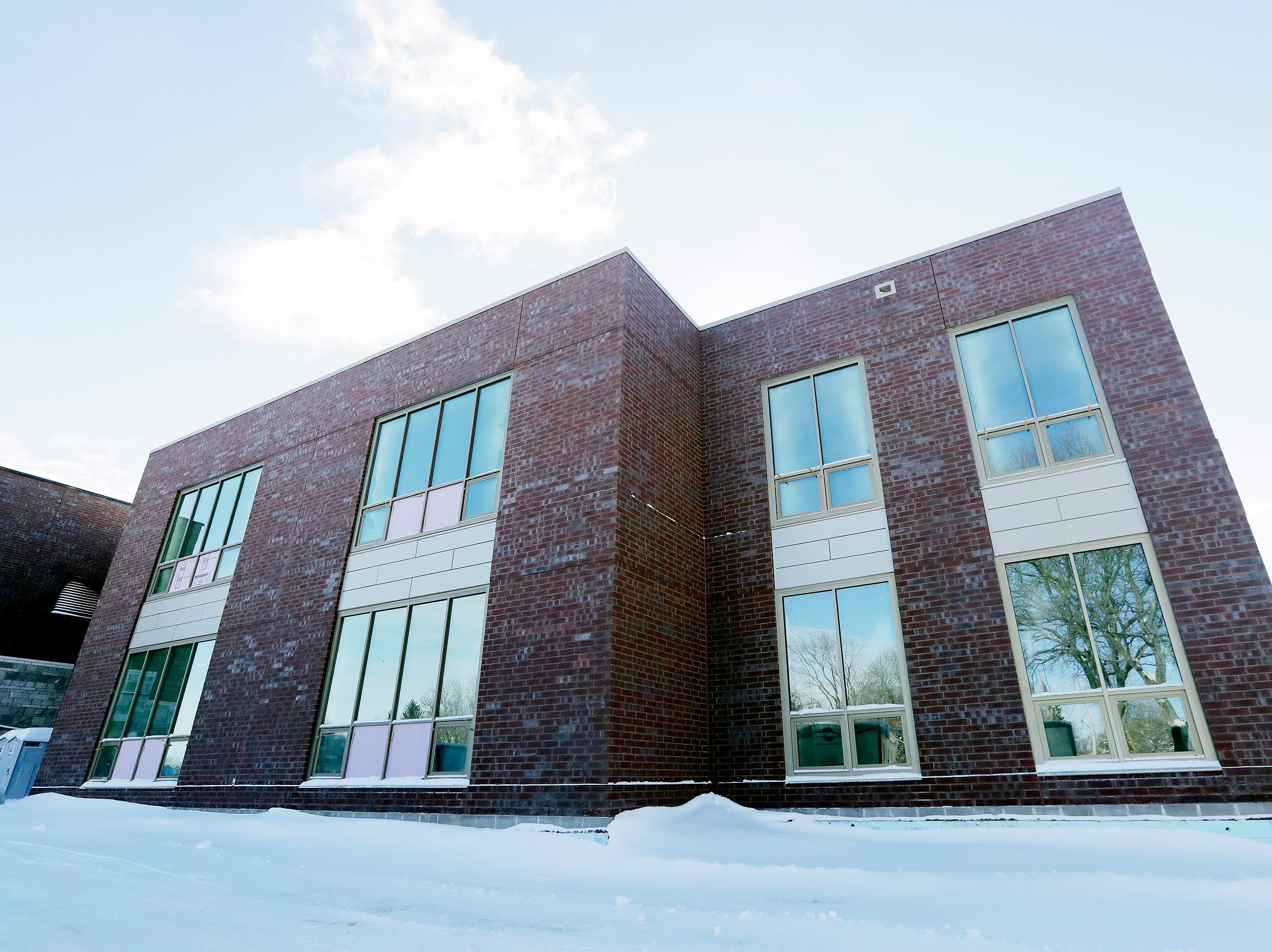 Windows have been installed on part of the new Baird Elementary School in Green Bay. The new school is scheduled to open in fall.