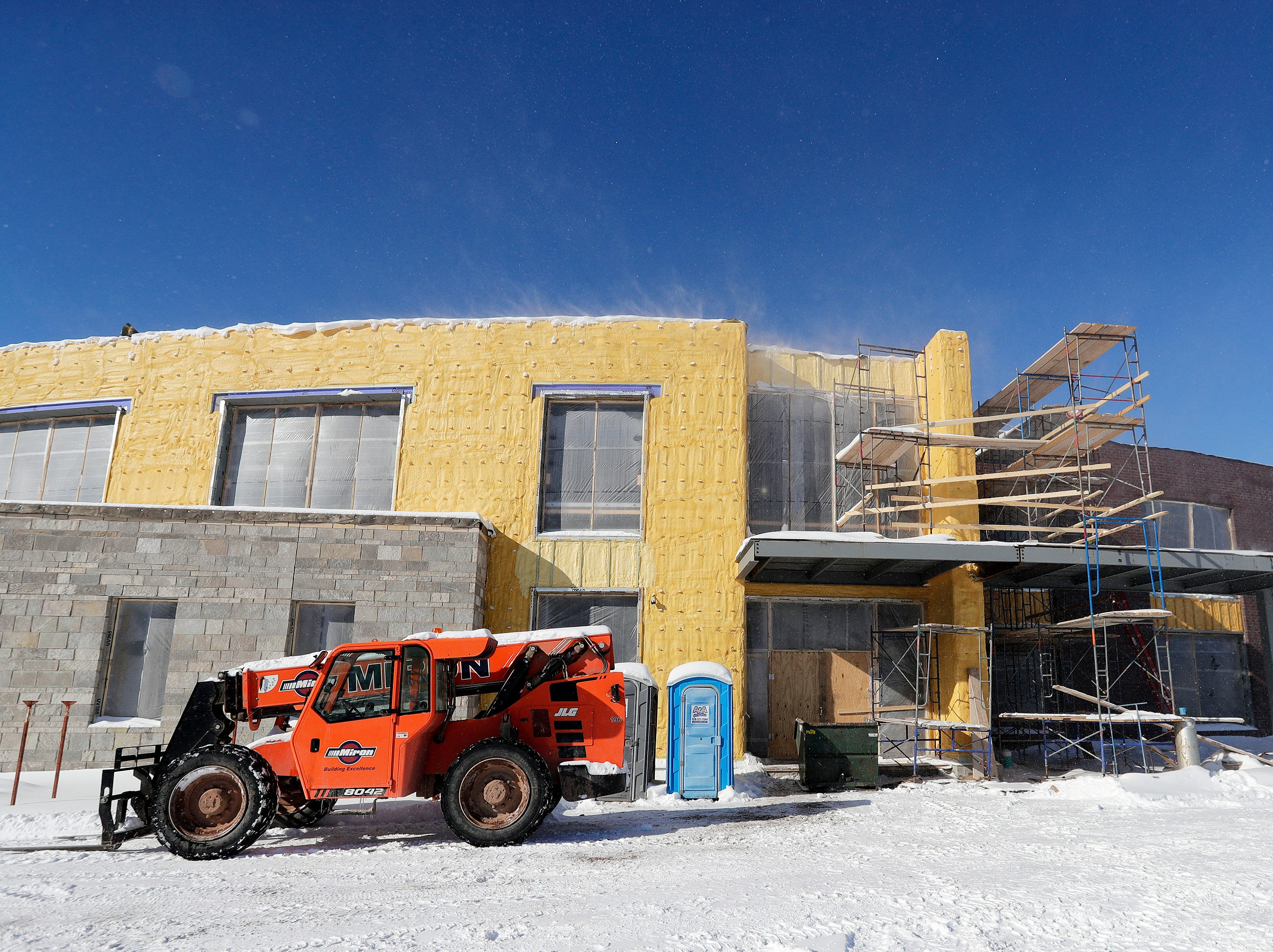 The main entrance to the under-construction Baird Elementary School is shown on Wednesday, February 13, 2019 in Green Bay, Wis.