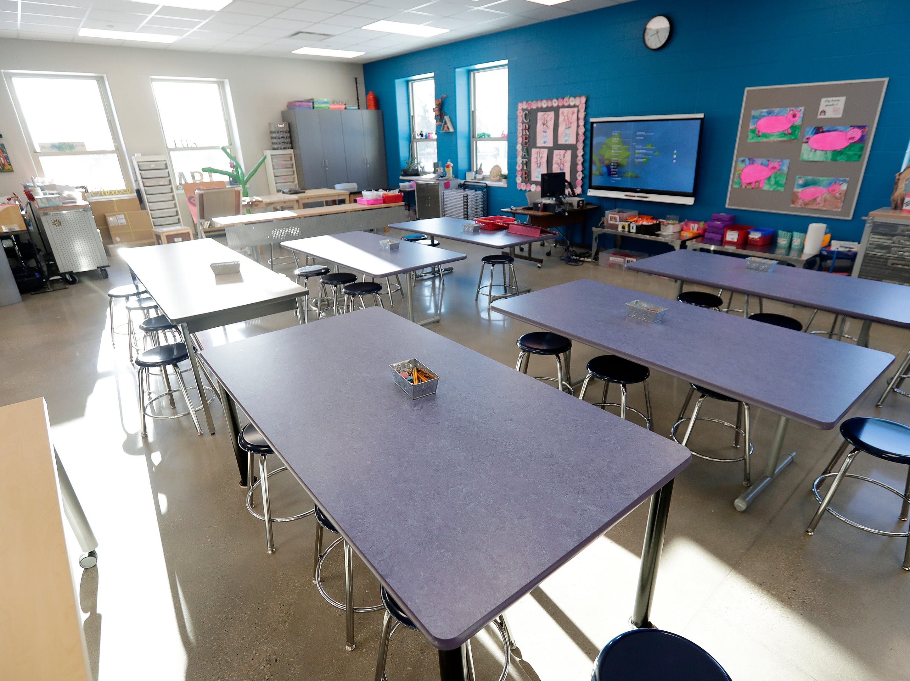 The new art classroom at Webster Elementary is shown on Wednesday, February 13, 2019 in Allouez, Wis.