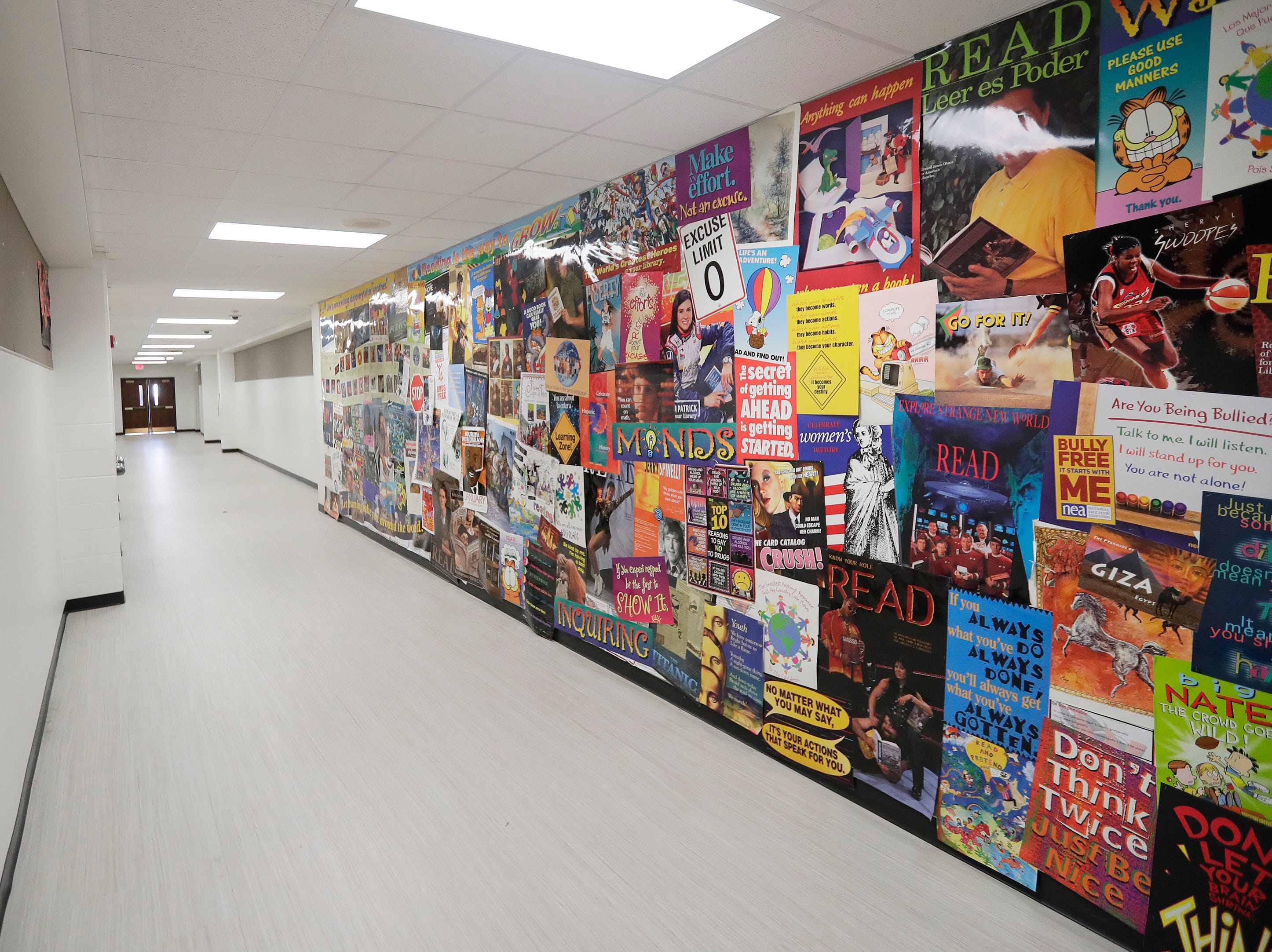 A hallway in the arts wing of Washington Middle School is shown on Wednesday, February 13, 2019 in Green Bay, Wis.