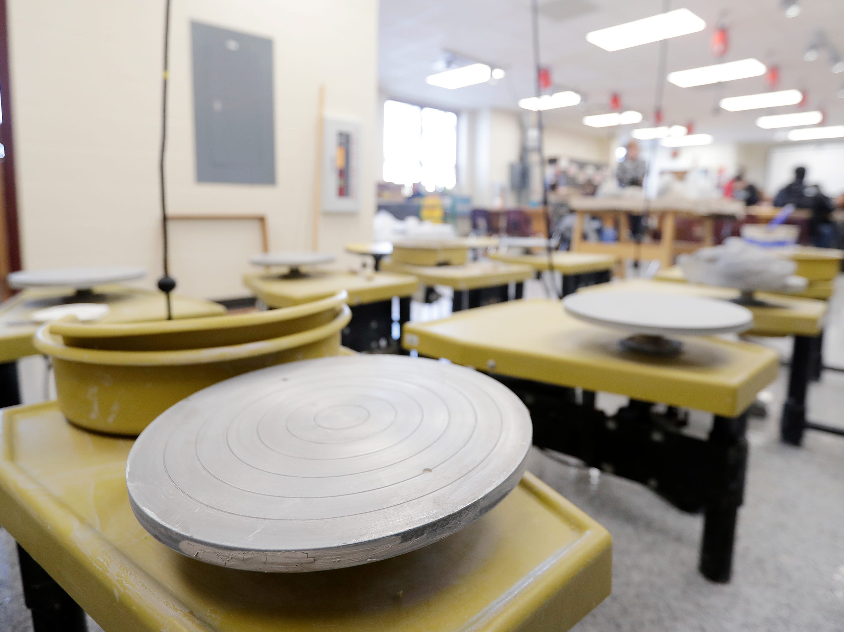 Clay wheels in a remodeled art classroom at East High School are shown on Wednesday, February 13, 2019 in Green Bay, Wis.