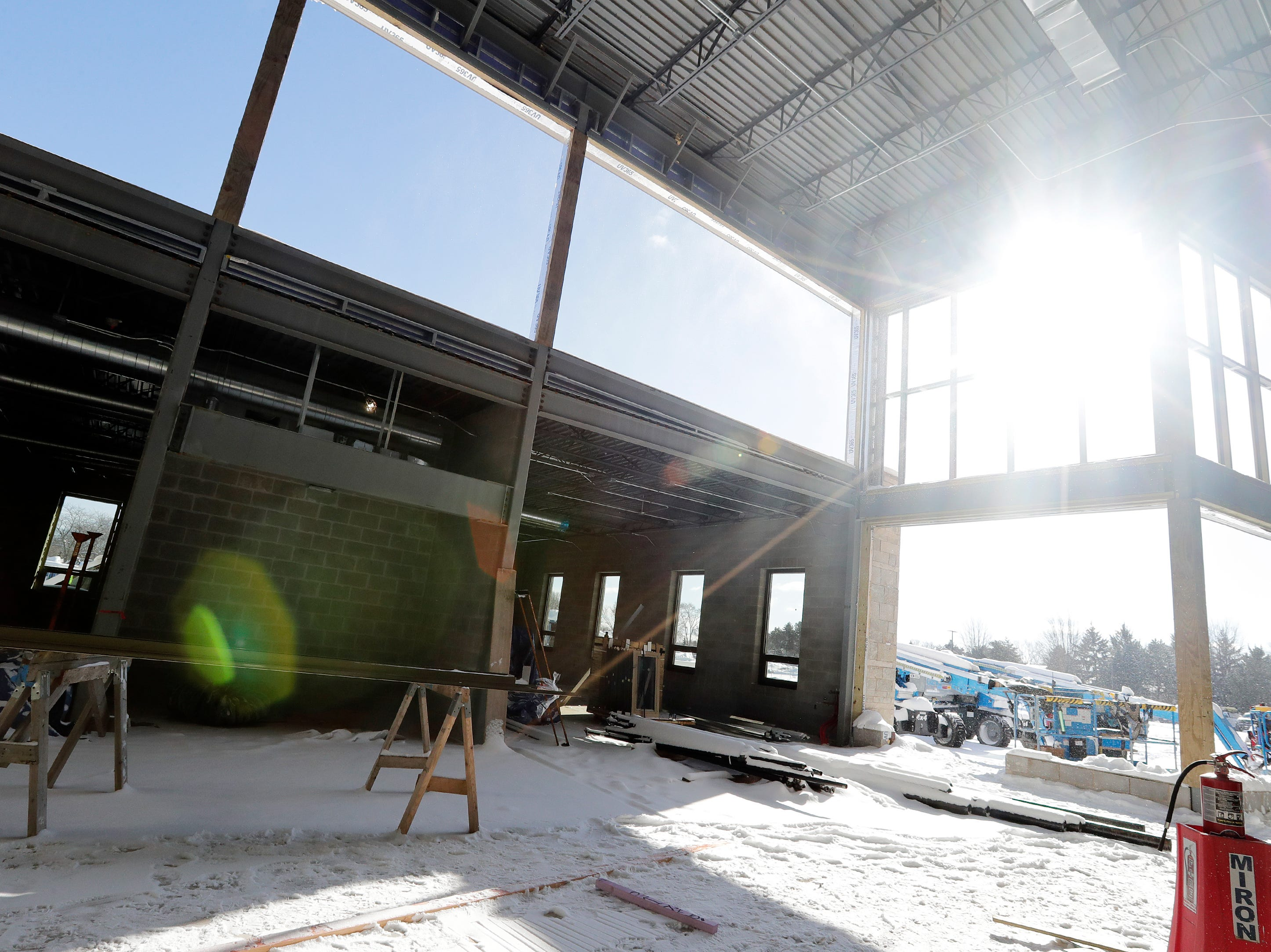 The under-construction cafeteria at Baird Elementary School is shown on Wednesday, February 13, 2019 in Green Bay, Wis.