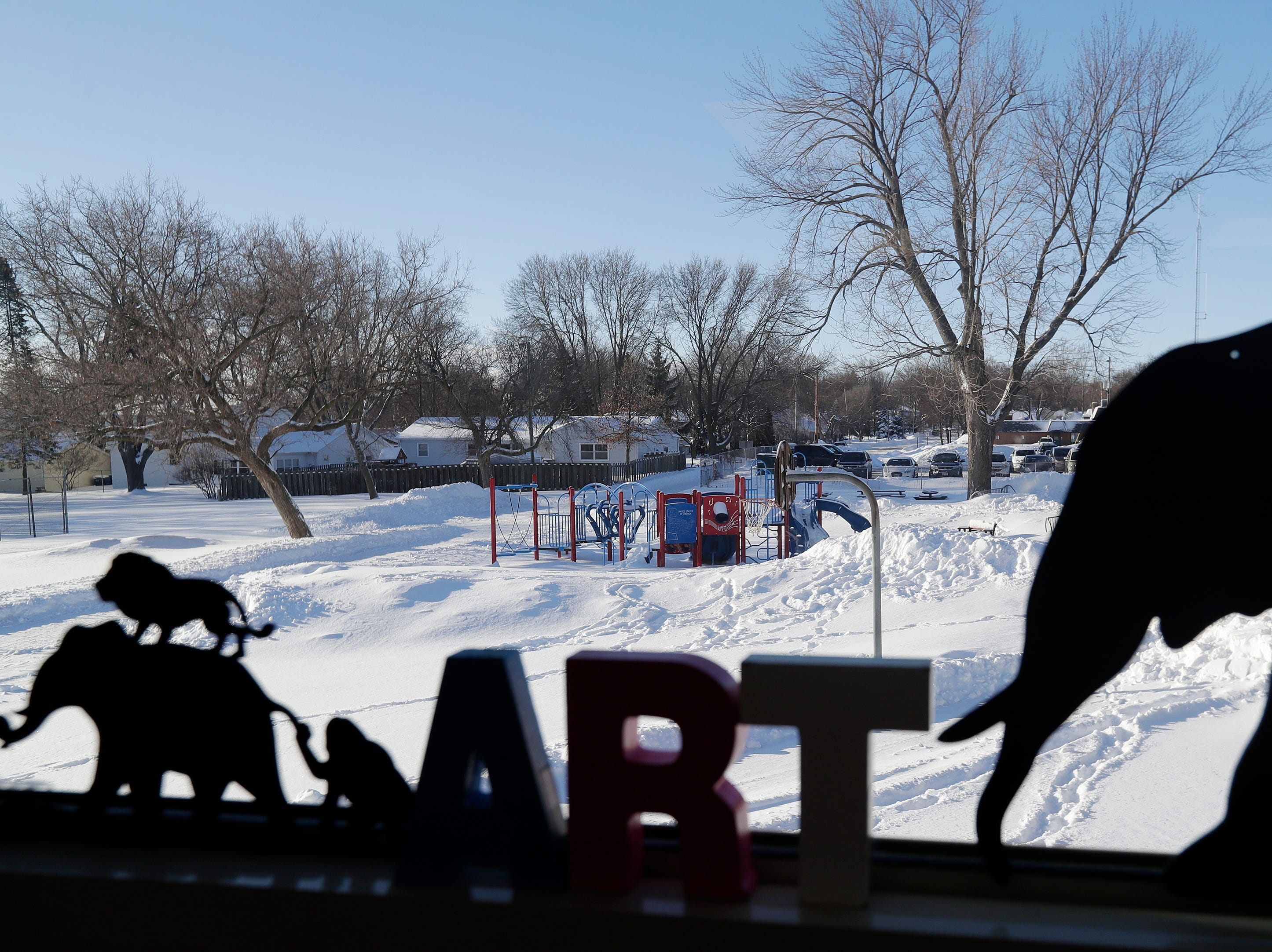 New playground equipment seen from the art classroom at Webster Elementary School  in Allouez on Wednesday.