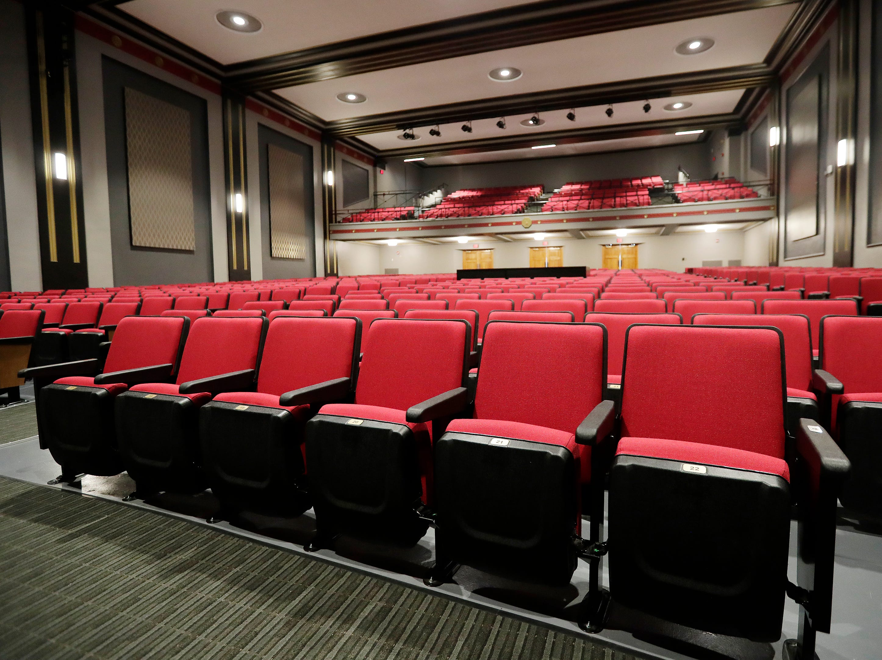 The new seating in the remodeled auditorium at Washington Middle School is shown on Wednesday, February 13, 2019 in Green Bay, Wis.