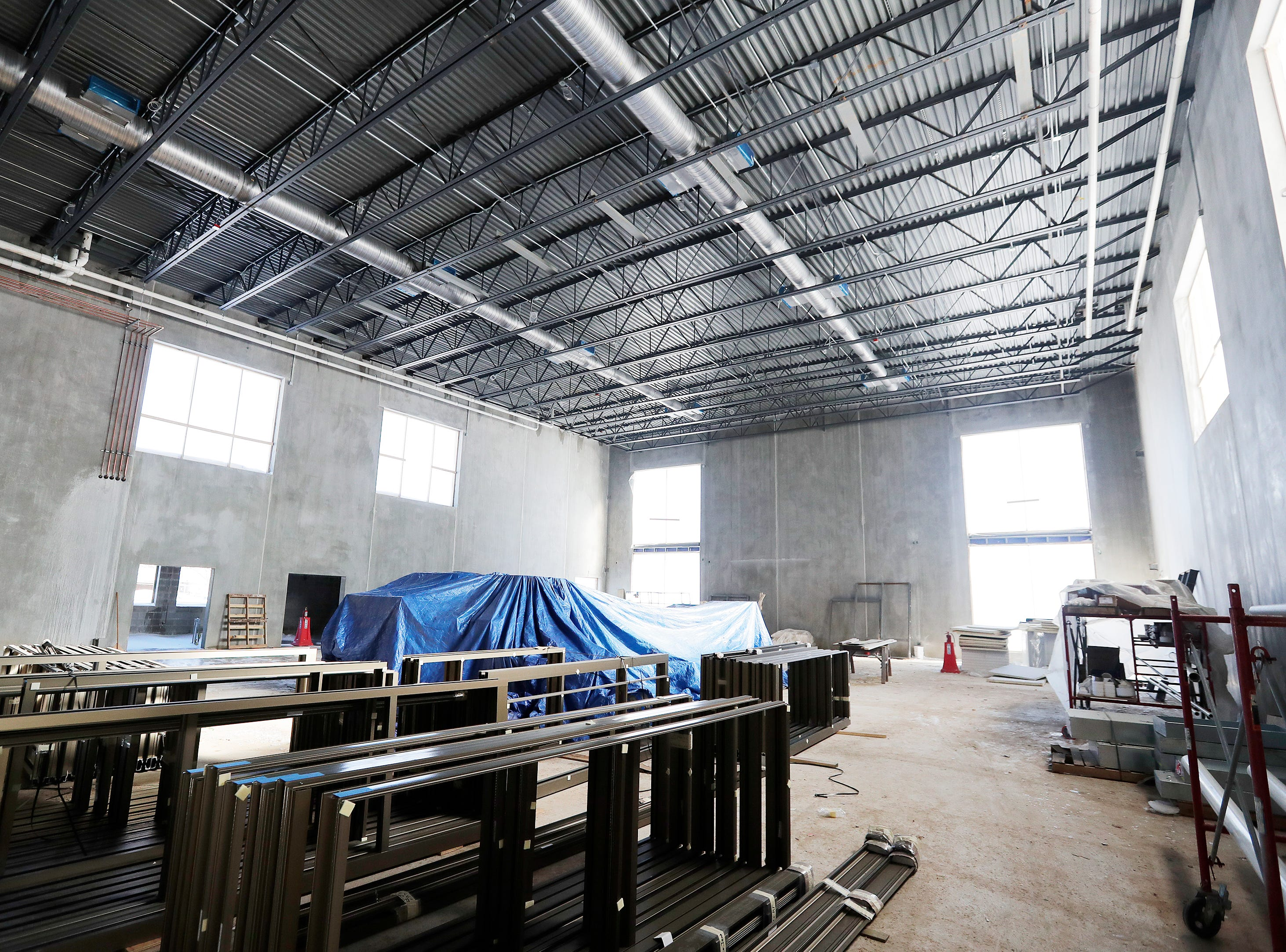 The under-construction gym at Baird Elementary School is shown on Wednesday, February 13, 2019 in Green Bay, Wis.
