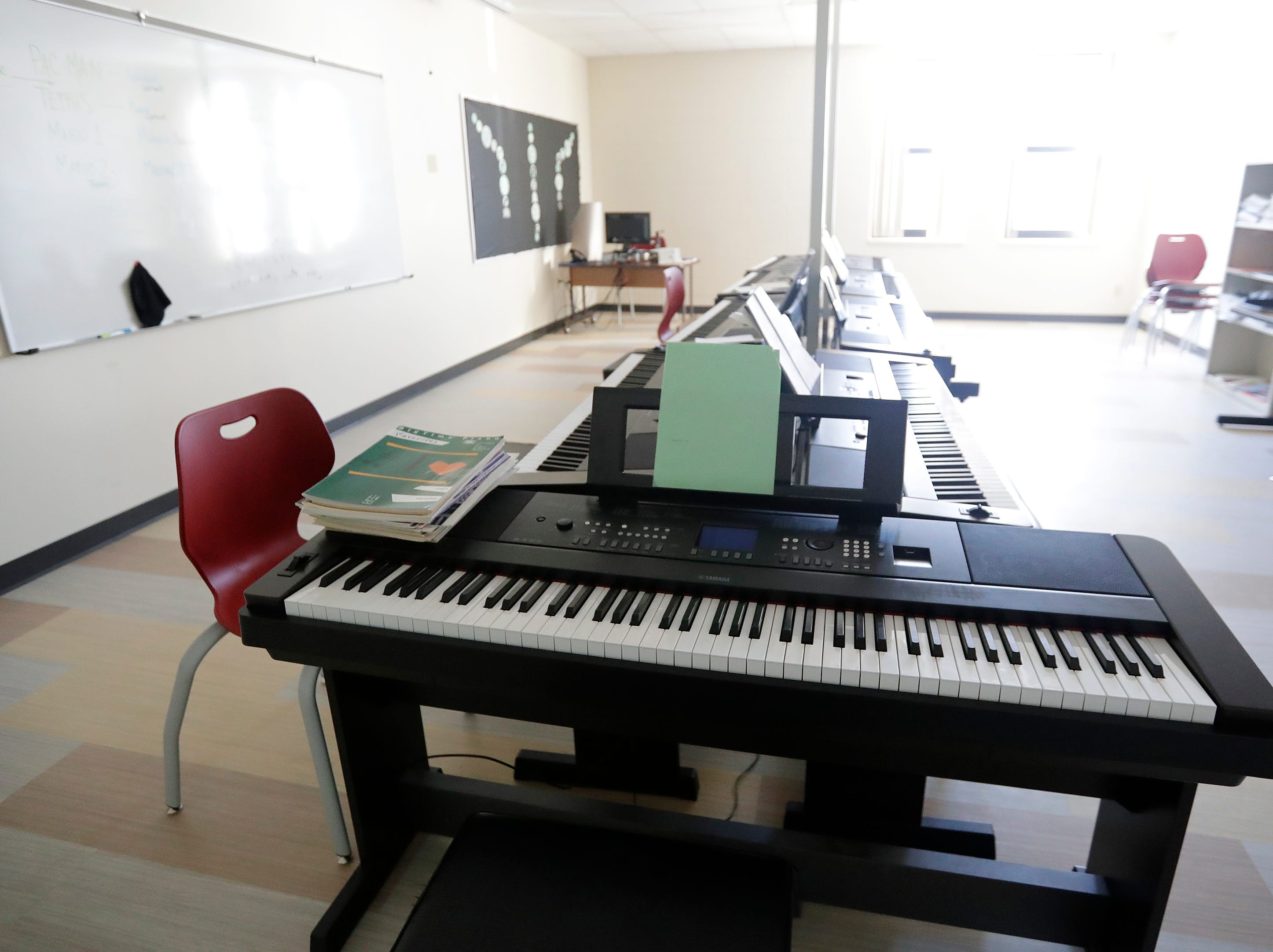 The new piano lab at Washington Middle School is shown on Wednesday, February 13, 2019 in Green Bay, Wis.