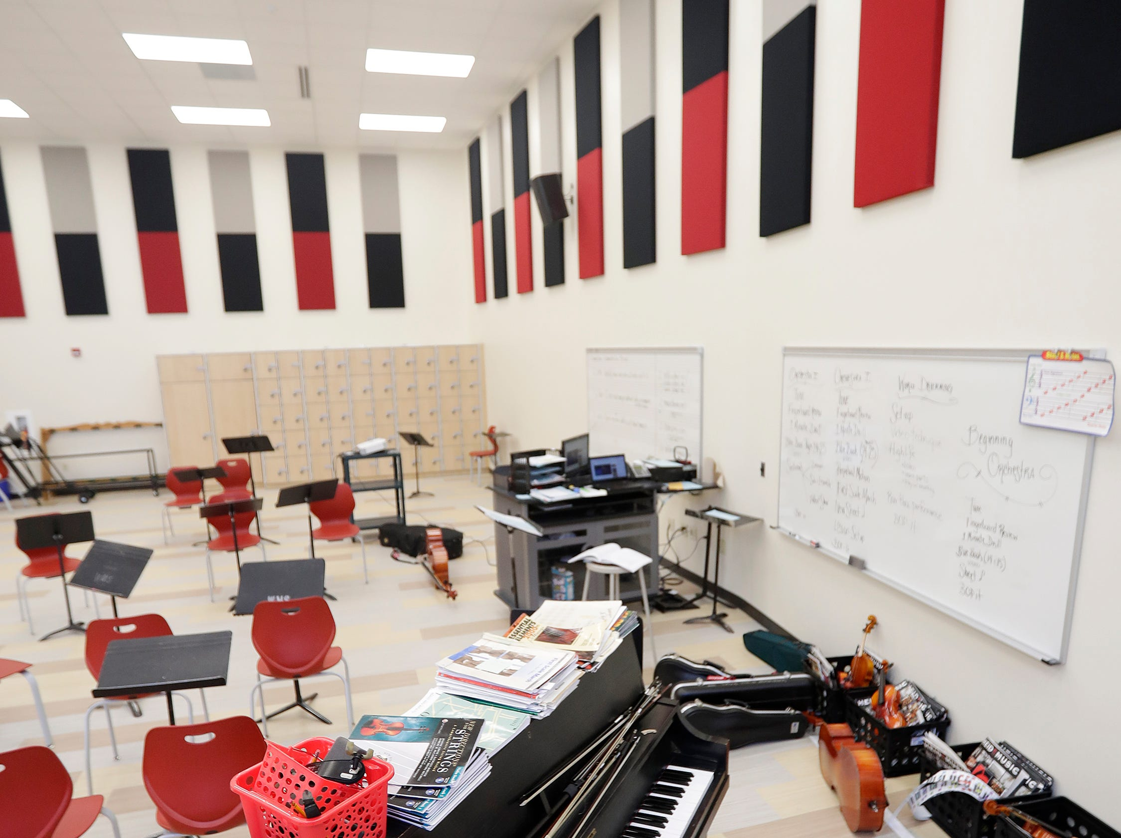 The new band room at Washington Middle School is shown on Wednesday, February 13, 2019 in Green Bay, Wis.
