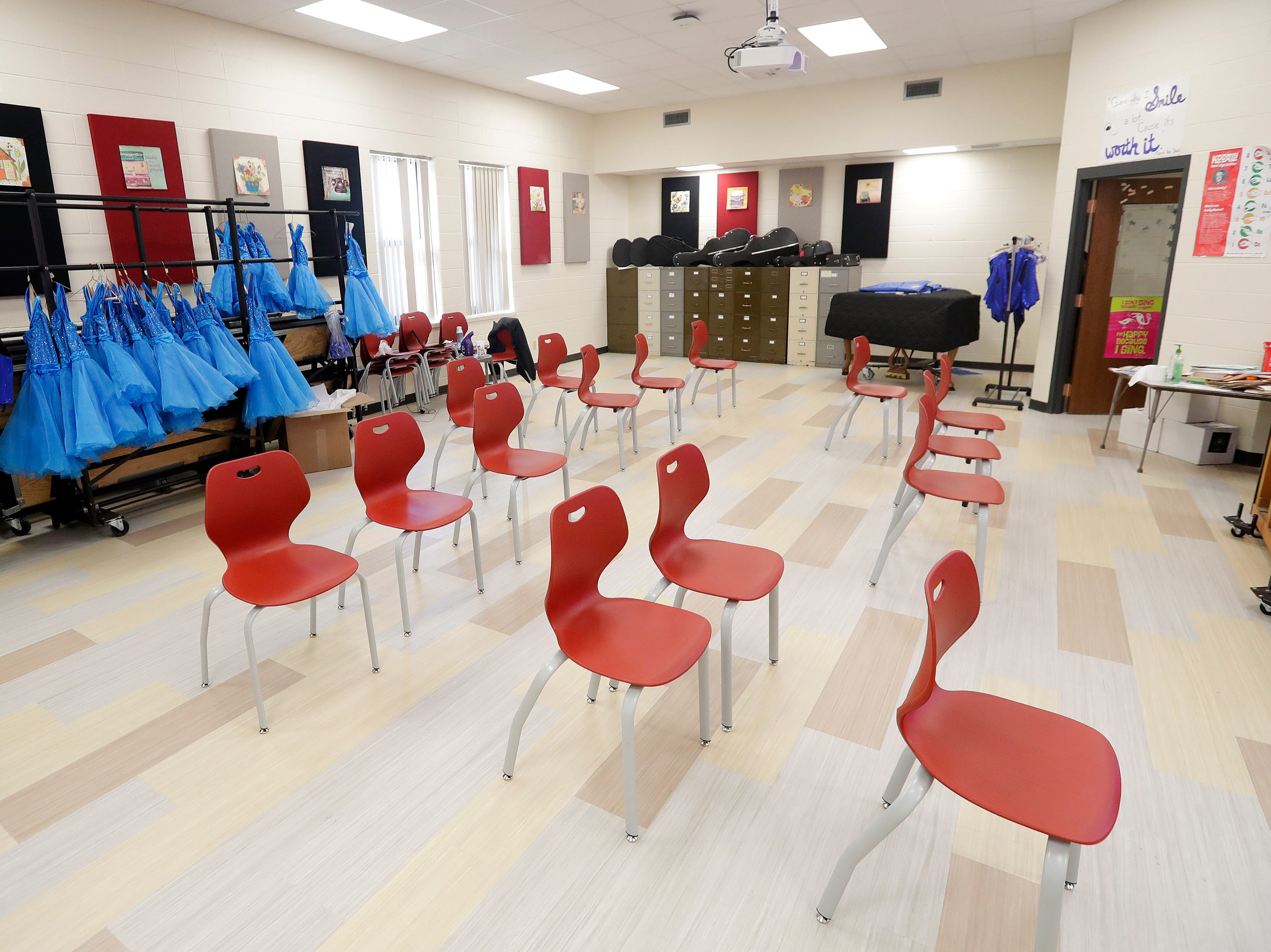 A new choir classroom at Washington Middle School is shown on Wednesday, February 13, 2019 in Green Bay, Wis.