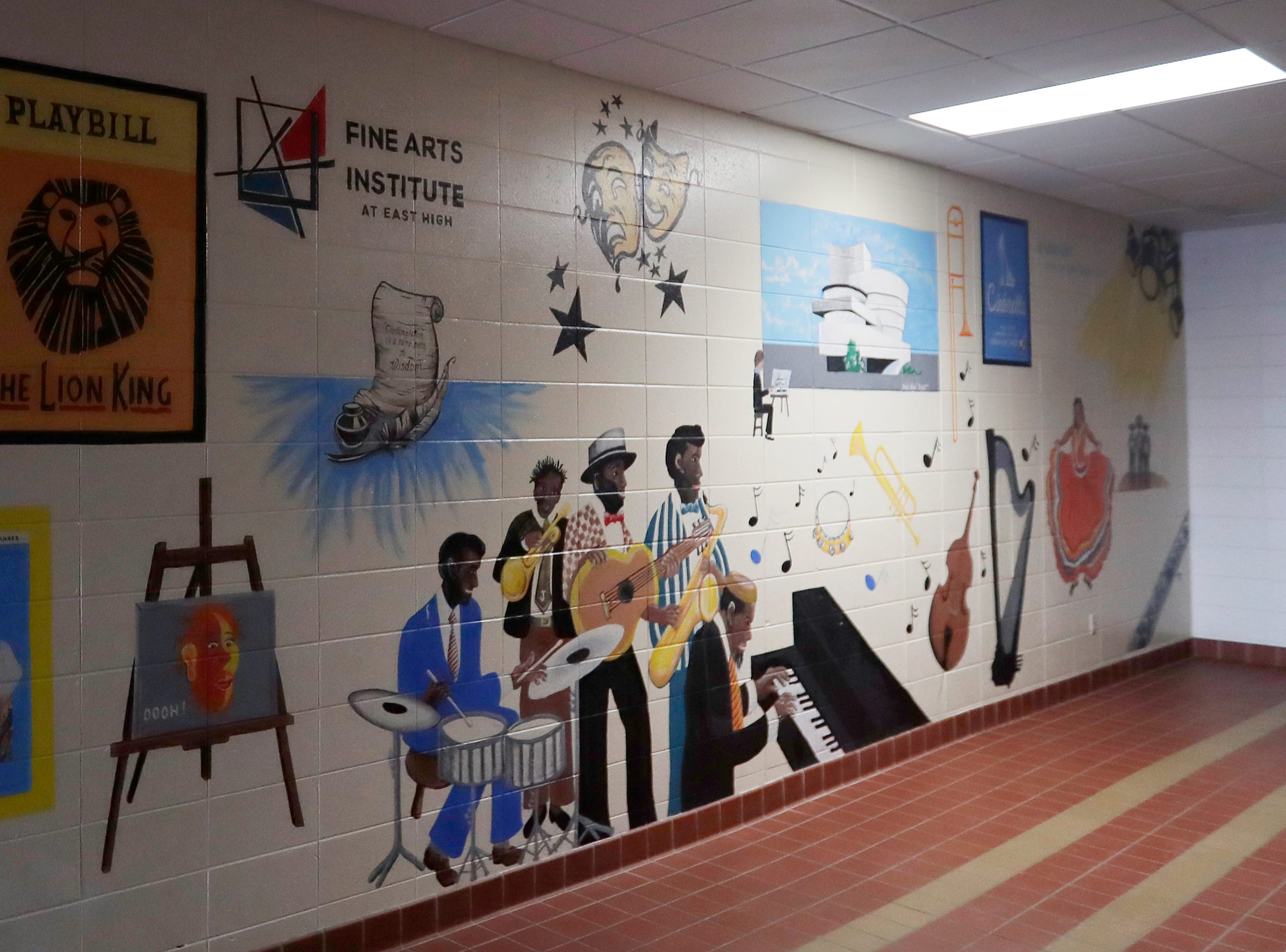 A new mural in the remodeled art wing of East High School is shown on Wednesday, February 13, 2019 in Green Bay, Wis.