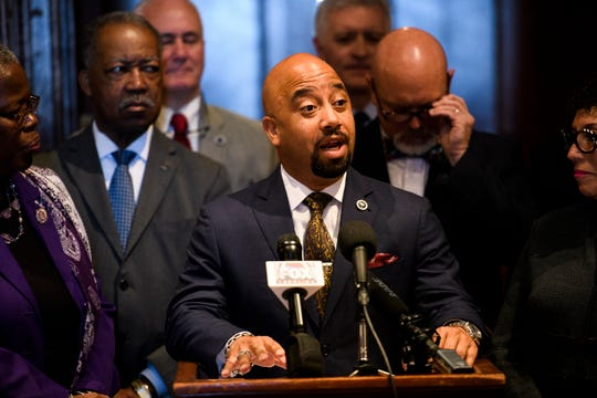 Rep. Cezar McKnight, D-Williamsburg, speaks during a press conference introducing a civil asset forfeiture reform bill at the Statehouse on Wednesday, Feb. 13, 2019.