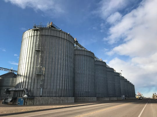 "Busch Agricultural grain bins line the highway in Fairfield, ""malt barley capital of the world."""