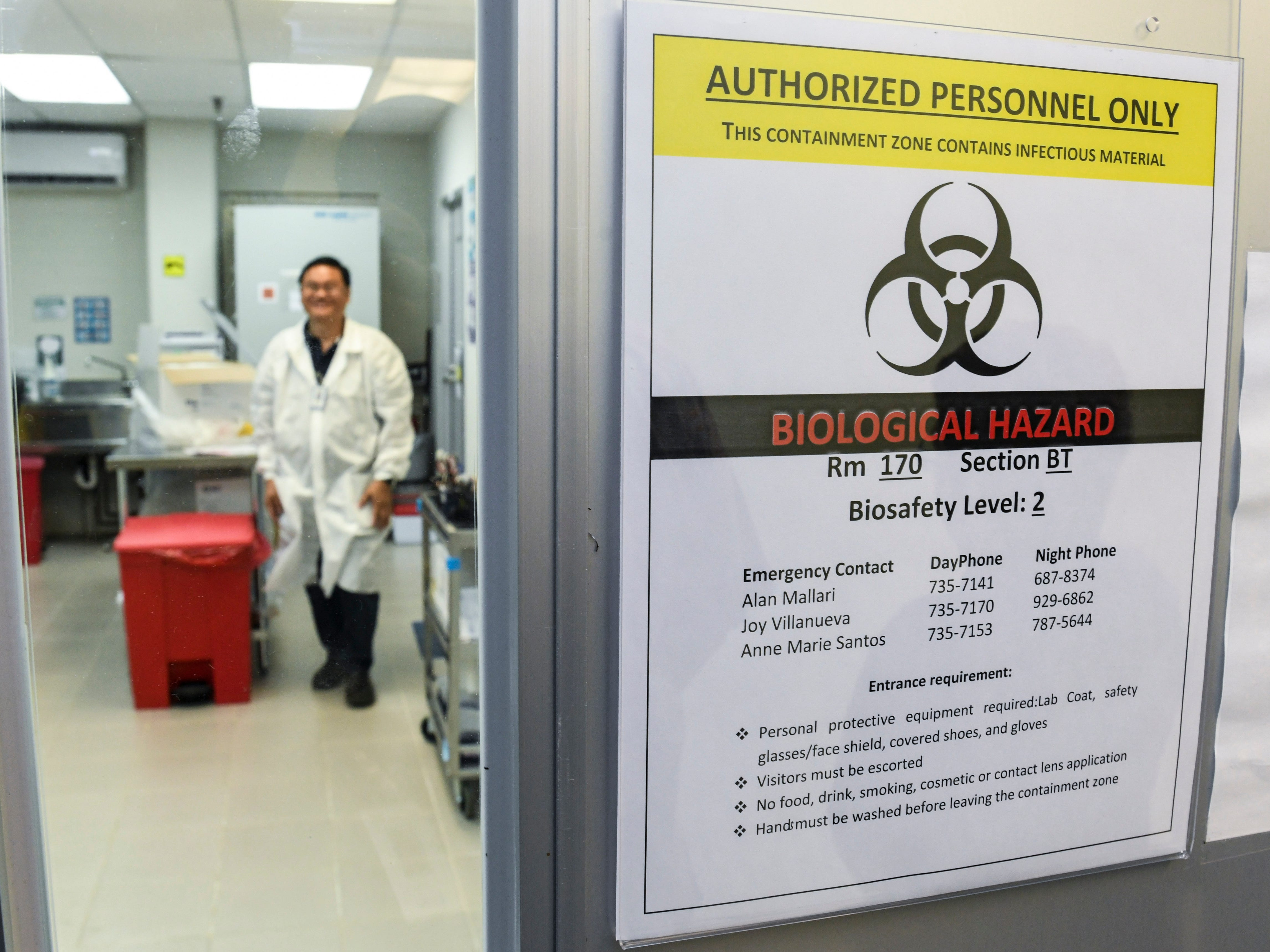 Microbiologist Alan John Malari can be seen within the laboratory section within the Department of Public Health and Social Services in Mangilao on Wednesday, Feb. 13, 2019.