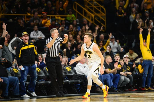 """Jordan Bohannon for 3"" has happened 239 times in the Iowa junior's sharpshooting career to date. That ties him for second all time at Iowa with Matt Gatens, and he's just 23 behind Jeff Horner's school-record 262 3-pointers."