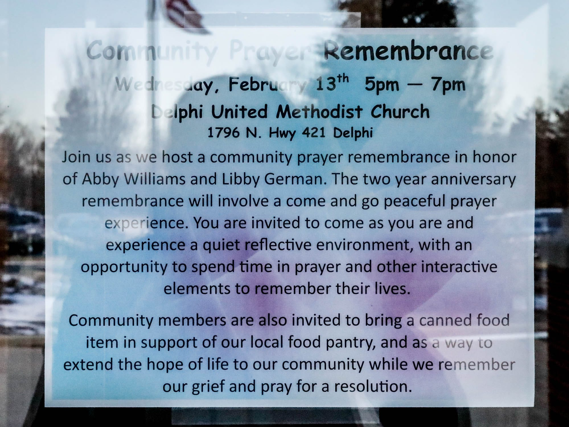 A community prayer remembrance is held for murder victims Abby Williams and Libby German at Delphi United Methodist Church 1796 US-421, on Wednesday, Feb. 13, 2019. Two years after the murder, the case has yet to be solved.