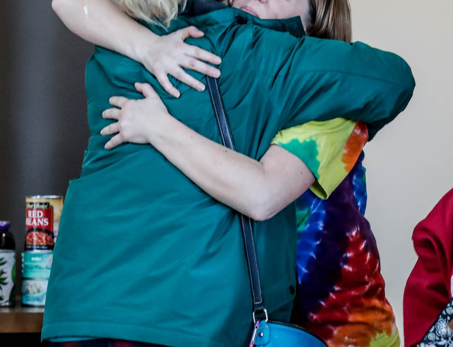 Anna Williams, right, the mother of Abby Williams, hugs Kim O'Leary, left, before a community prayer remembrance at Delphi United Methodist Church 1796 US-421, on Wednesday, Feb. 13, 2019. Two years after Delphi's Abby Williams and Libby German were murdered, the case has not been solved.