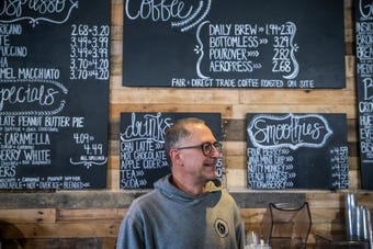 Coffeehouse Five owner Brian Peters says he's encouraged by Greenwood's planning and feels like there's great potential for the city's downtown.