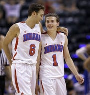 2016 IndyStar Mr. Basketball Kyle Guy (1) laughed with Brachen Hazen (6) during a timeout of their All-Stars game that year.