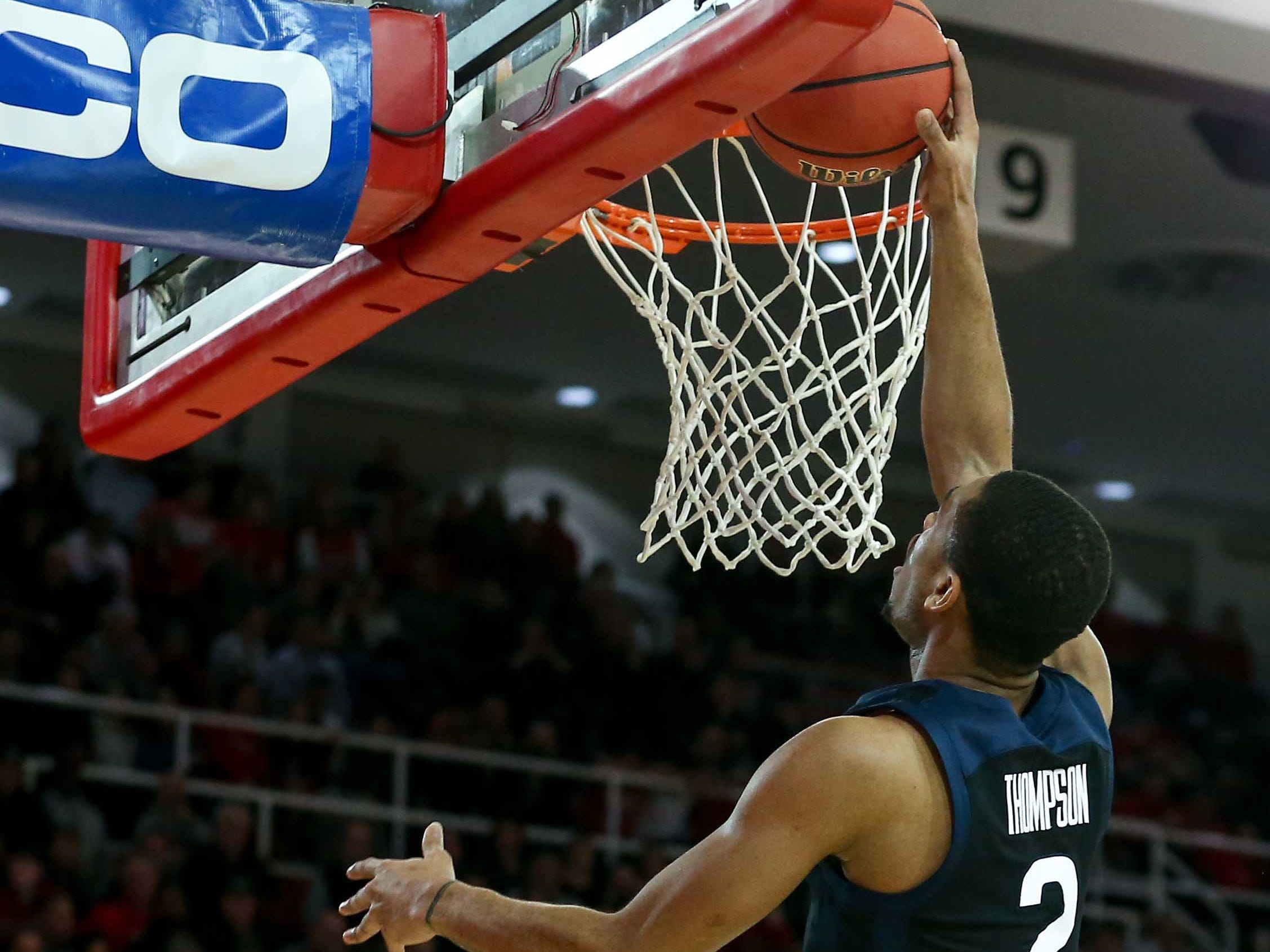 Feb 12, 2019; Queens, NY, USA; Butler Bulldogs guard Aaron Thompson (2) scores against the St. John's Red Storm in the first half at Carnesecca Arena.