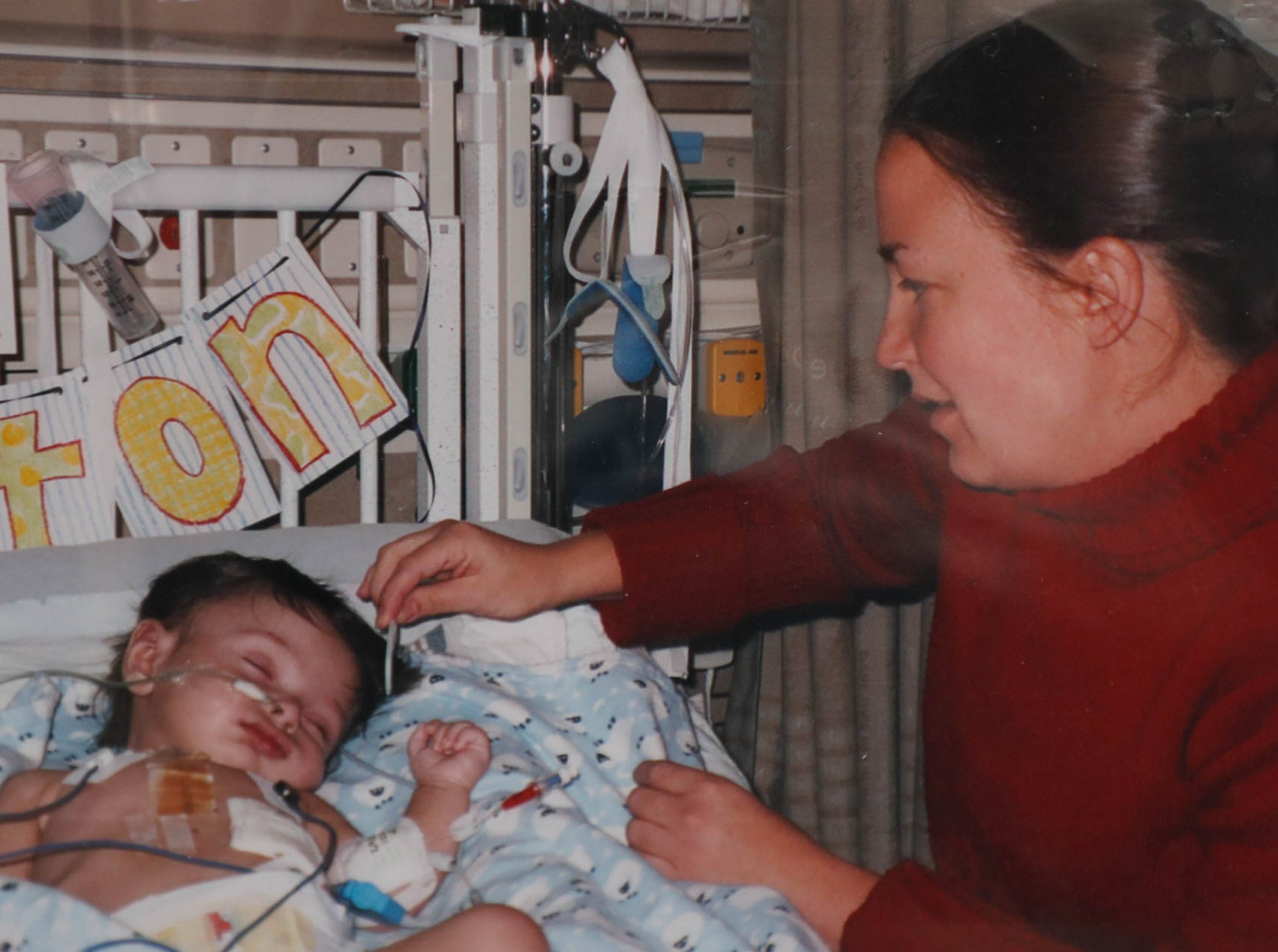 Britton Helmuth has suffered from  heart issues since birth. This photo was taken after his first heart surgery.