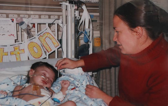 Britton Helmuth after his first heart surgery at 3 months old.