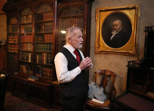 President Benjamin Harrison, played by Ed Myers, waits for visitors in his office. At a Presidents Day celebration at the Benjamin Harrison Presidential Site in Indianapolis, visitors got to interact with family members and household staff, whose roles are recreated by exceptional actors on Monday, Feb. 16, 2015.