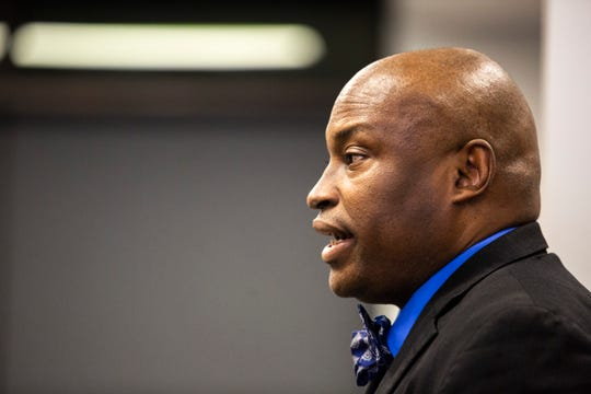 Iowa City NAACP President Kevin Sanders speaks during a city council meeting on Tuesday, Feb. 12, 2019 inside the Community Center at One University Place in University Heights, Iowa. University Heights city council approved a ban on racial and other forms of profiling by the police department.
