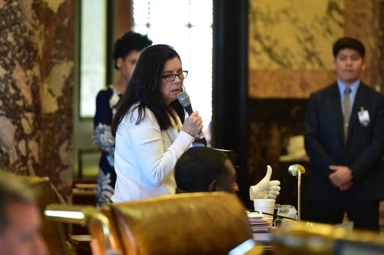 Miss. Sen. Angela Hill, R-Picayune, speaks to the senate during a debate of S.B. 2116, also known as the Heartbeat Bill, presented by Sen. Joey Fillingane. Wednesday, Feb. 13, 2019.