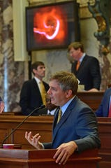 "As images of fetuses scroll across monitors in the Senate chamber Wednesday, Sen. Joey Fillingane, R-Sumrall, presents Senate Bill 2116, also known as the ""Heartbeat bill,"" to Senate members. Sen. Derrick Simmons, D-Greenville, presented an amendment to the proposed legislation allowing for special considerations for victims or rape or incest, but the measure did not pass."