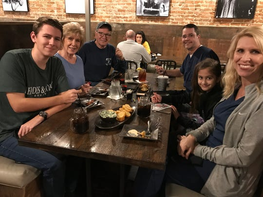 Enjoying dinner at Genna Benna's are from left, Jackson Harper, Rosie Rhodes, Jack Rhodes, Ryan Harper, Stella Harper and Holly Harper, all of Pelahatchie.