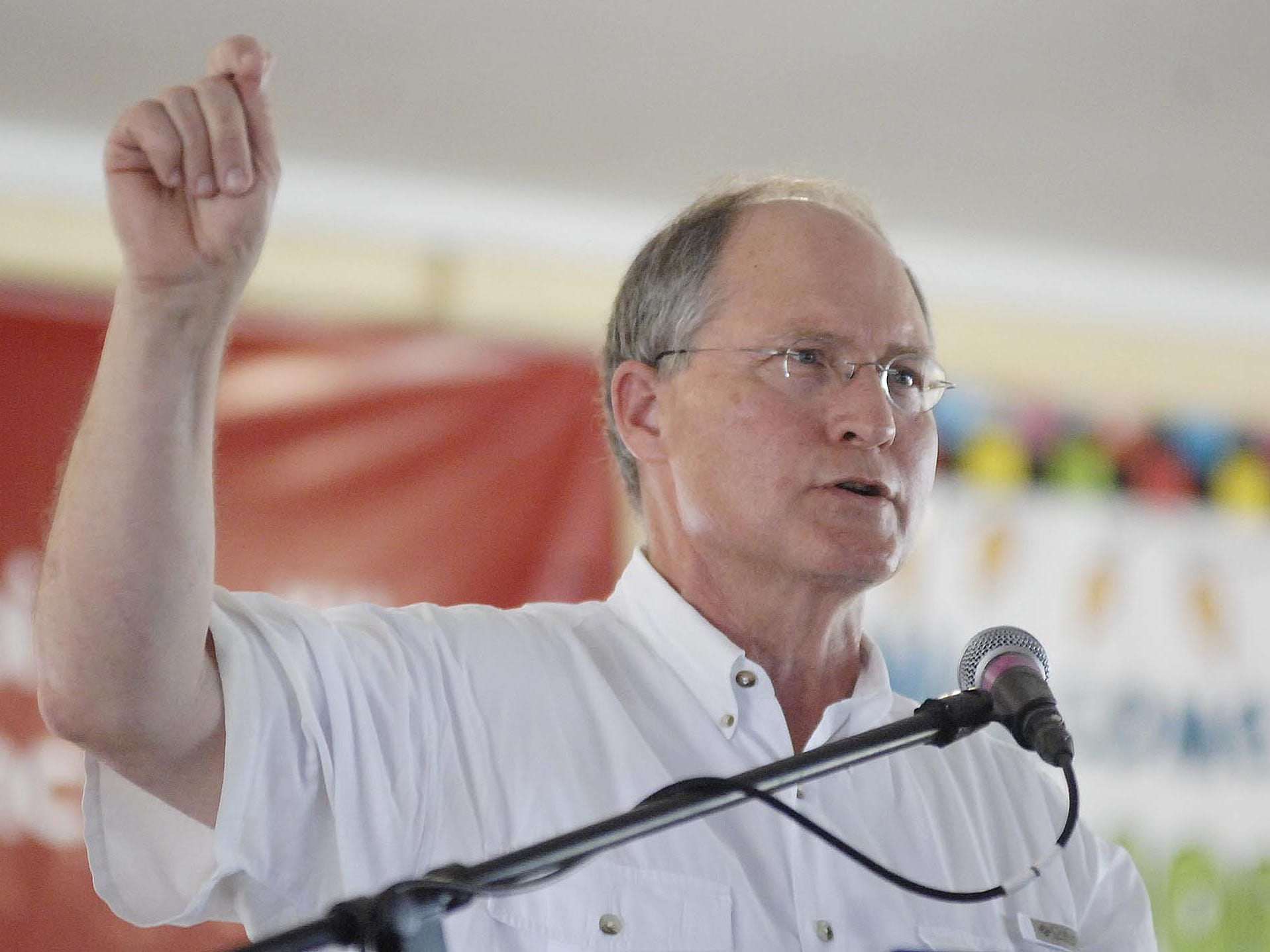 Mississippi Supreme Court Chief Justice Bill Waller, Jr. speaks at the Neshoba County Fair.