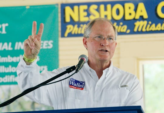 Bill Waller Jr. delivers his campaign speech at the Neshoba County Fair in Philadelphia, Miss., Thursday, Aug. 2, 2012.