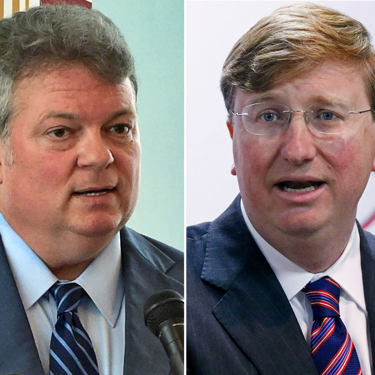 Mississippi Attorney General Jim Hood (left) and Mississippi Lt. Governor Tate Reeves