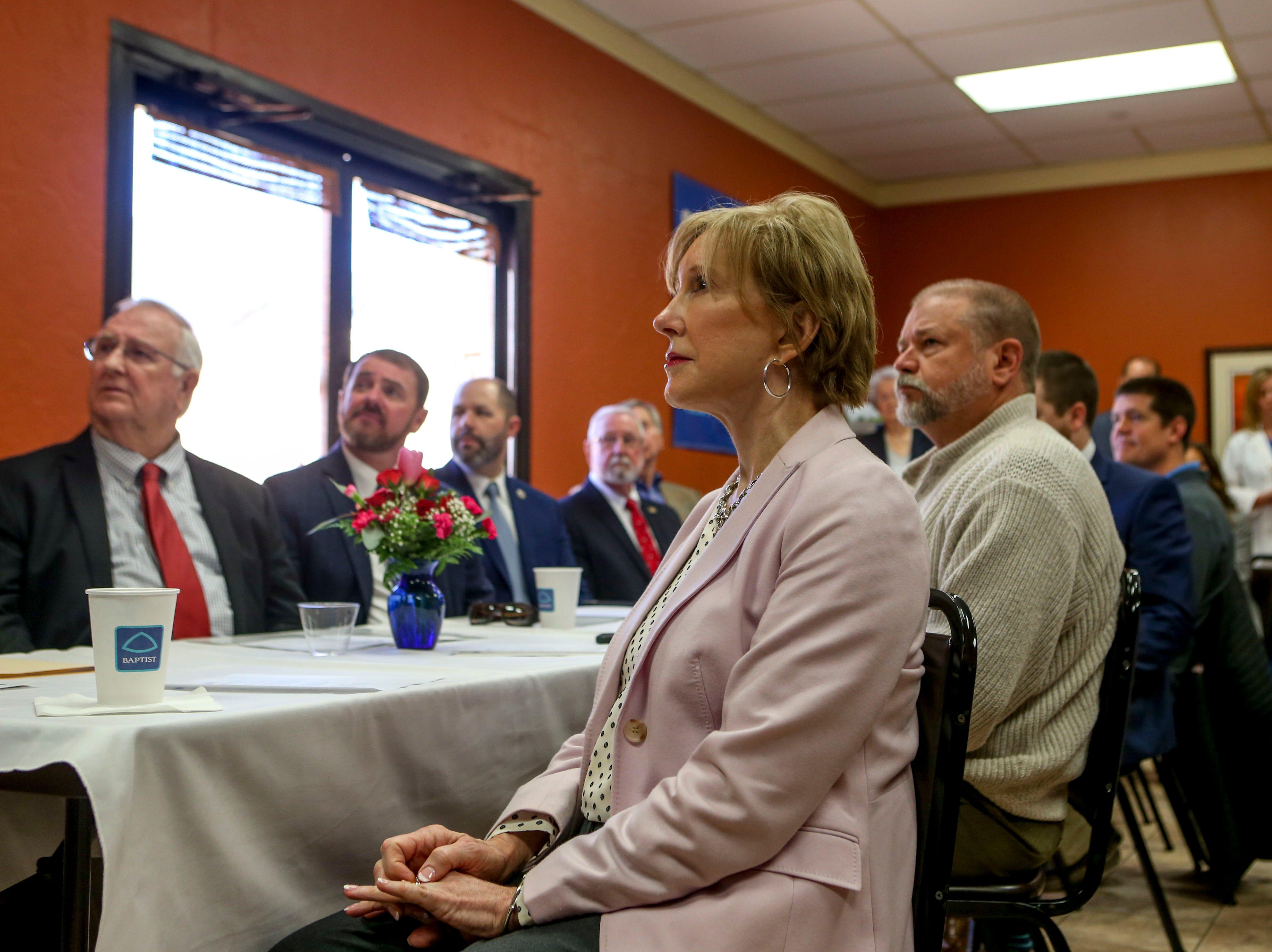 McKenzie mayor Jill Holland sits and listens to a presentation on telemedicine machines at Baptist Memorial Hospital in Huntingdon, Tenn., on Friday, Feb. 8, 2019.
