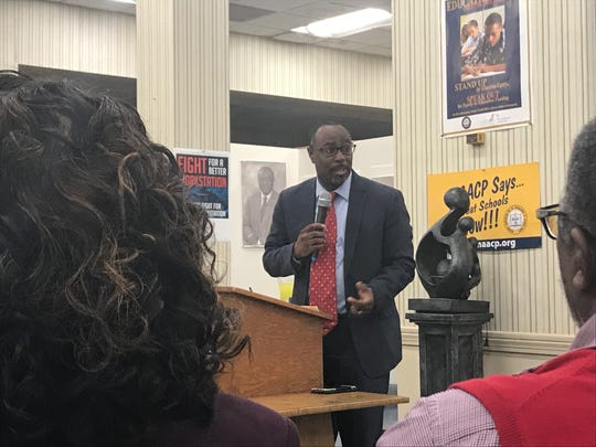 Mount Zion M.B. Church Pastor Curtis Mormon speaks at the NAACP Founders Day celebration at the Jackson Madison County branch's headquarters in Jackson, Tenn. on Feb. 12.