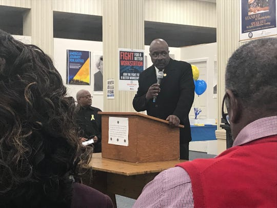 Jackson Madison County NAACP Branch President Harrell Carter speaks to the crowd at the NAACP Founders Day celebration at the Jackson Madison County branch's headquarters in Jackson, Tenn. on Feb. 12.