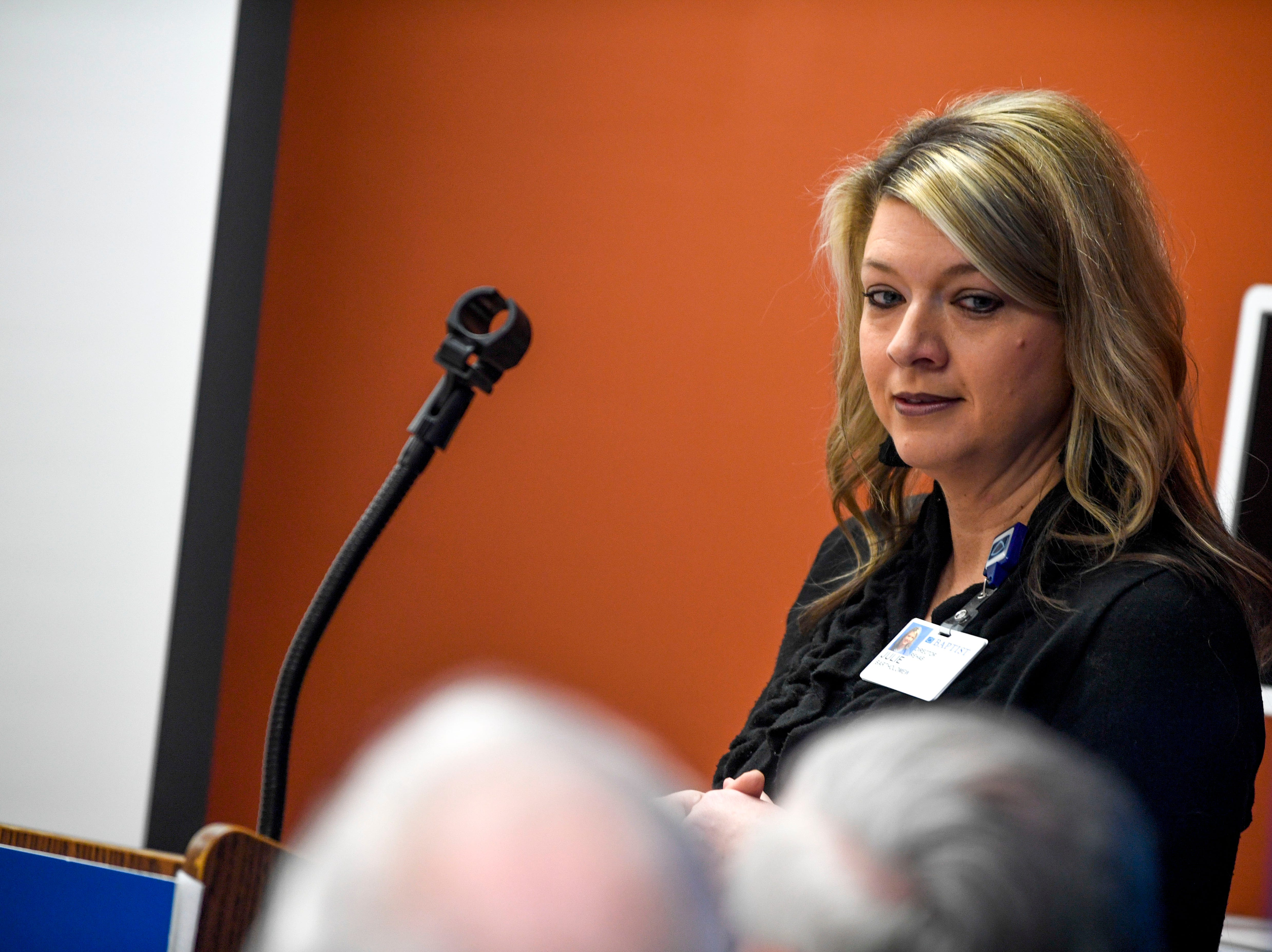 Julie Bartholomew speaks to those in attendance at an informational meeting and demonstration of telemedicine machines at Baptist Memorial Hospital in Huntingdon, Tenn., on Friday, Feb. 8, 2019.