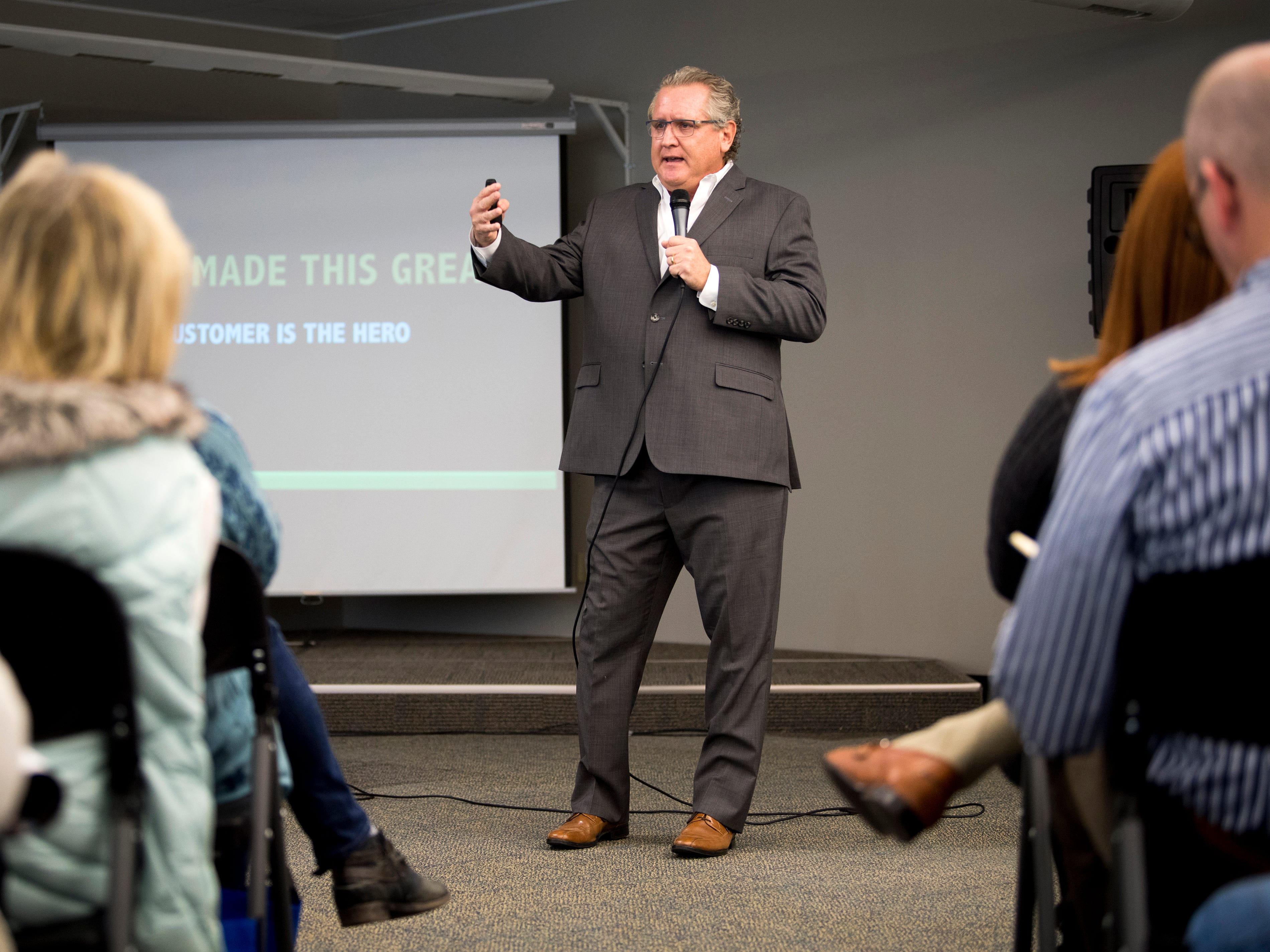 Mark Schaefer speaks at his book release event with knox.biz held at the Knoxville News Sentinel on Wednesday, February 13, 2019.