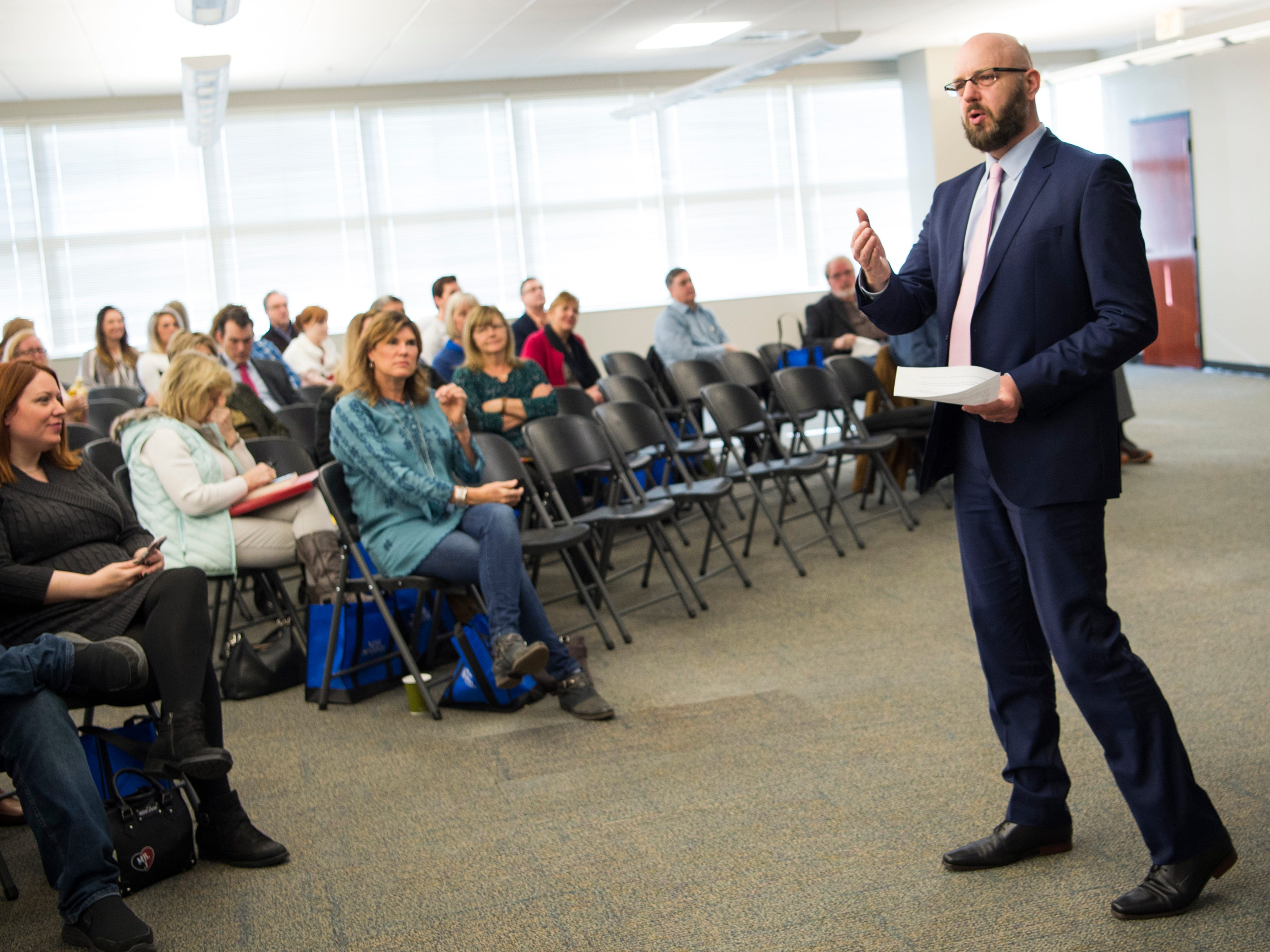 News Sentinel executive editor Joel Christopher speaks at knox.biz's Mark Schaefer book release event held at the Knoxville News Sentinel on Wednesday, February 13, 2019.
