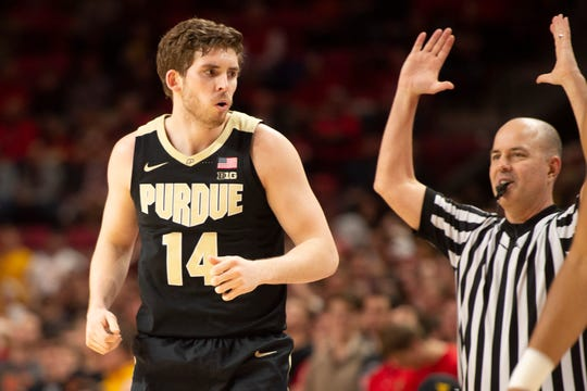 Feb 12, 2019; College Park, MD, USA; Purdue Boilermakers guard Ryan Cline (14) reacts after making a three point shot during the first half against the Maryland Terrapins at XFINITY Center. Mandatory Credit: Tommy Gilligan-USA TODAY Sports