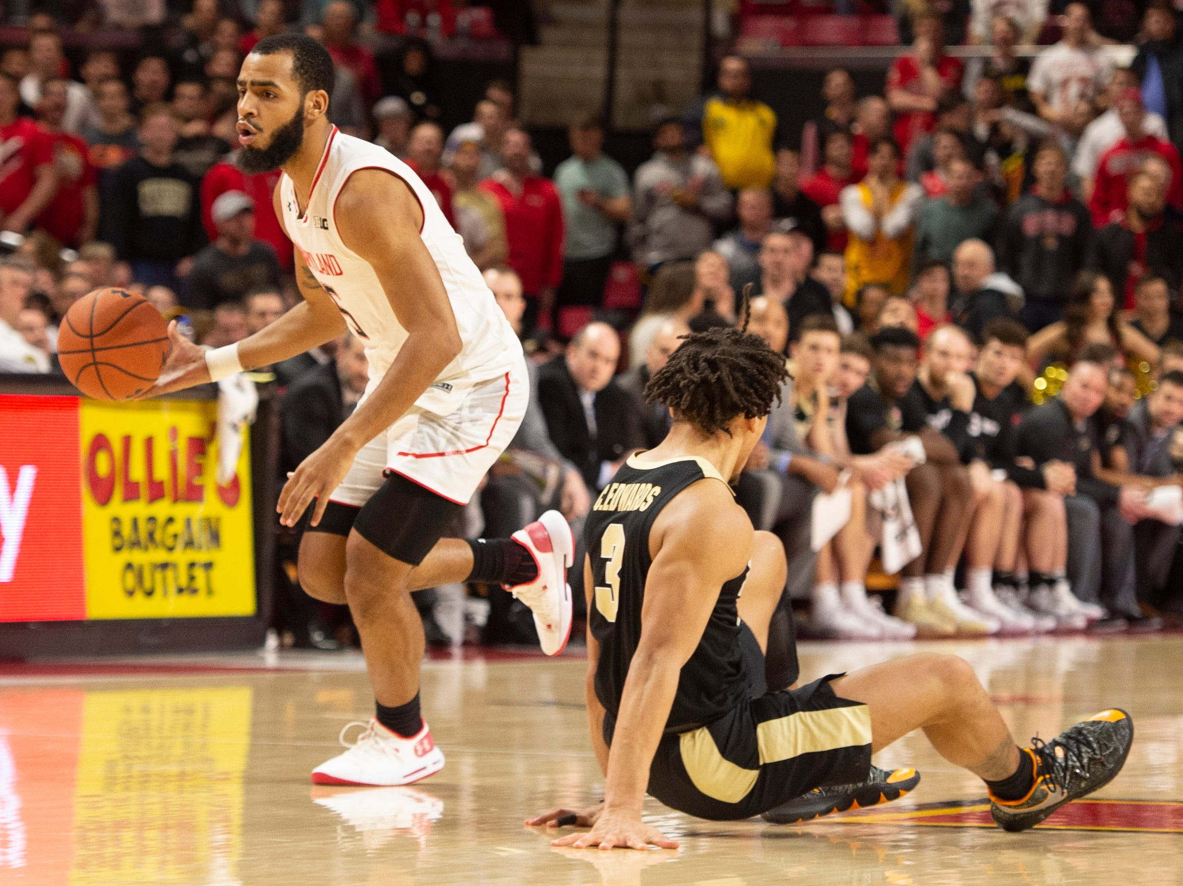 Feb 12, 2019; College Park, MD, USA; Maryland Terrapins guard Eric Ayala (5) dribbles past Purdue Boilermakers guard Carsen Edwards (3) during the second half at XFINITY Center. Mandatory Credit: Tommy Gilligan-USA TODAY Sports