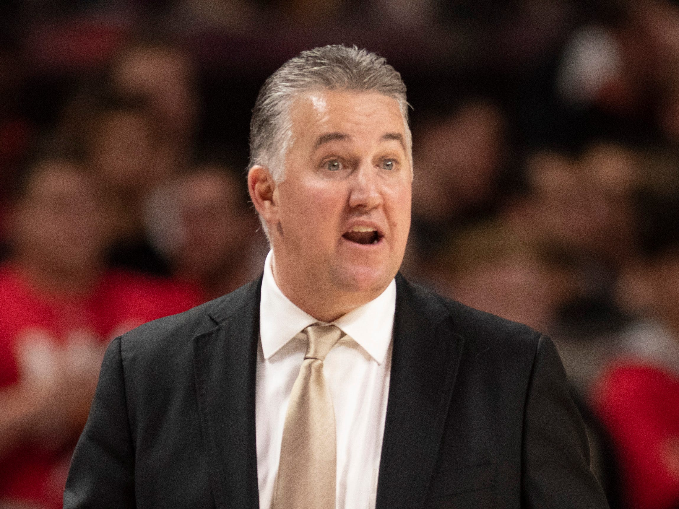 Feb 12, 2019; College Park, MD, USA; Purdue Boilermakers head coach Matt Painter reacts to play pin the court during the second half against the Maryland Terrapins at XFINITY Center. Mandatory Credit: Tommy Gilligan-USA TODAY Sports