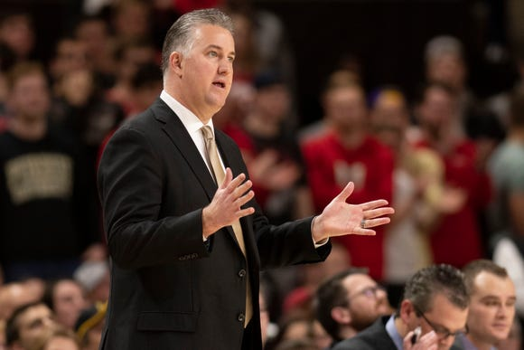Feb 12, 2019; College Park, MD, USA; Purdue Boilermakers head coach Matt Painter reacts during the first half against the Maryland Terrapins at XFINITY Center. Mandatory Credit: Tommy Gilligan-USA TODAY Sports